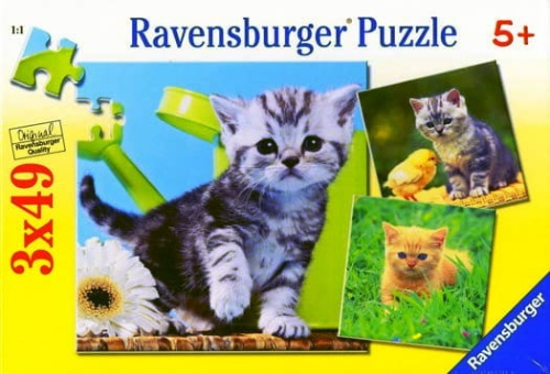 175baea62104e Ravensburger puzzle 3x49 elementów Małe Kotki ZABAWKOWNIA